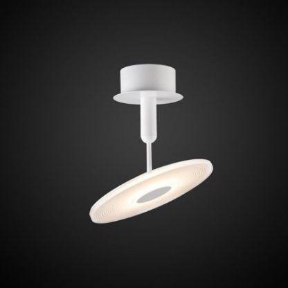 biała lampa sufitowa z płaskim kloszem