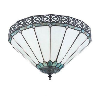 biała lampa sufitowa z witrażowym wzorem