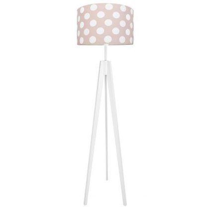 Biała lampa trójnóg z różowym abażurem w białe grochy