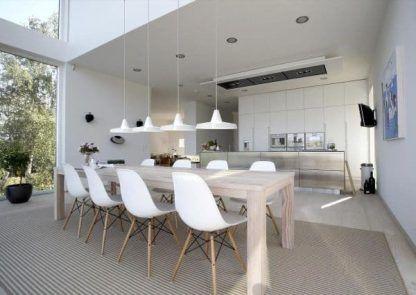 biała lampa wisząca aranżacja nowoczesna kuchnia