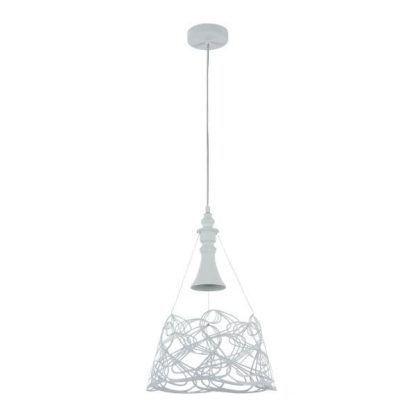 biała lampa wisząca do nowoczesnej sypialni