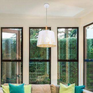 biała lampa wisząca do salonu - duży szeroki klosz
