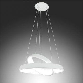 biała lampa wisząca do salonu regulowane okręgi led