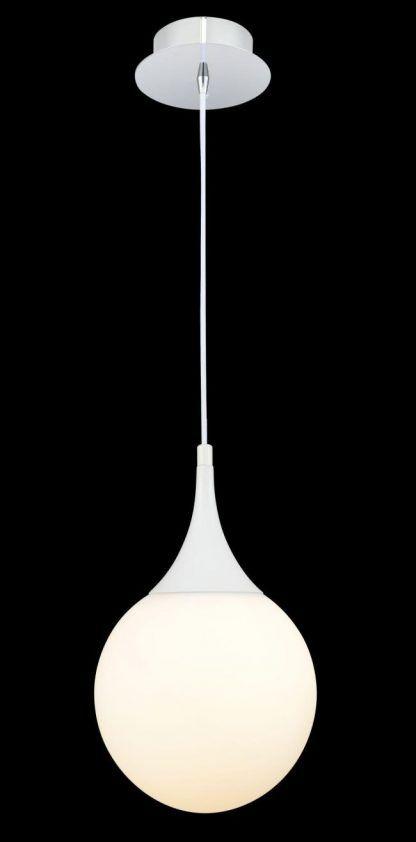 biała lampa wisząca do sypialni szklana kula