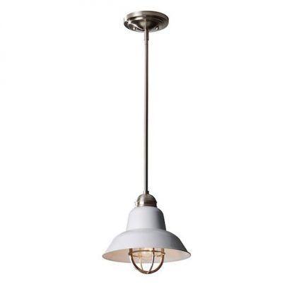 biała lampa wiszaca do wnętrz loftowych