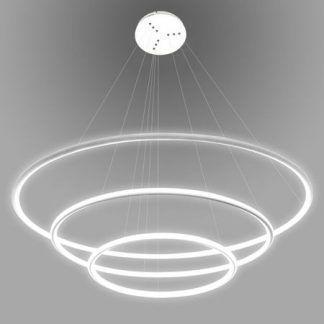 biała lampa wisząca led duże okręgi do salonu