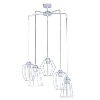 biała lampa wisząca na 5 żarówek - druciane ażury