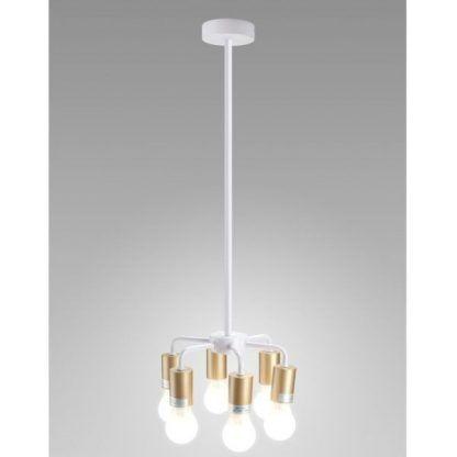 biała lampa wisząca na 6 żarówek