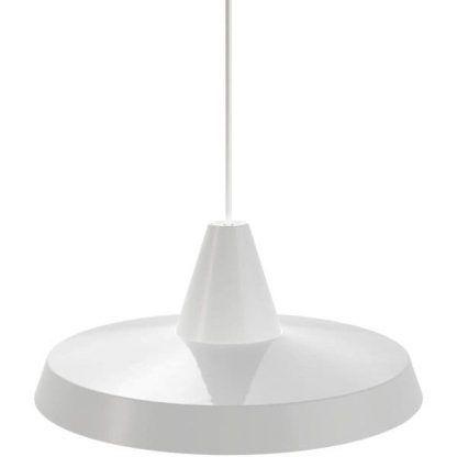 biała lampa wisząca nad stół do jadalni