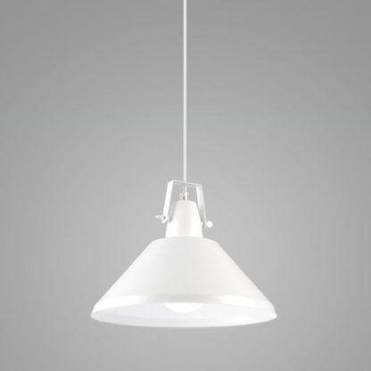 biała lampa wisząca nad stół do kuchni