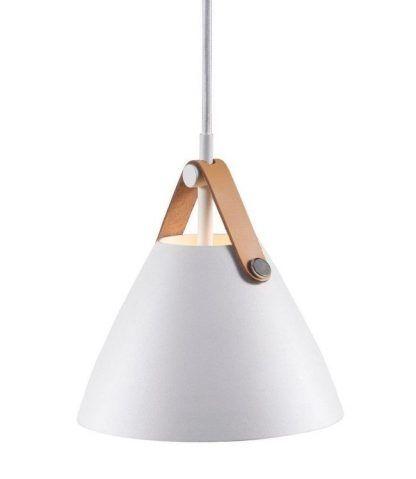 biała lampa wisząca nad stół do salonu skórzany pasek