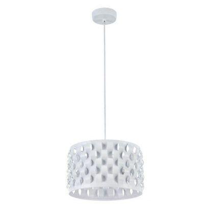 biała lampa wisząca nowoczesna do sypialni