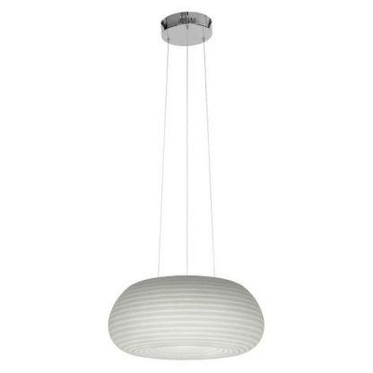 biała lampa wisząca owalny klosz w prążki