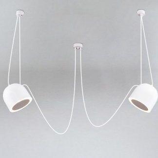 biała lampa wisząca pająk dwa reflektory