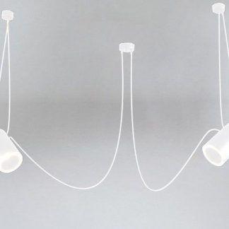 biała lampa wisząca pająk podłużne klosze