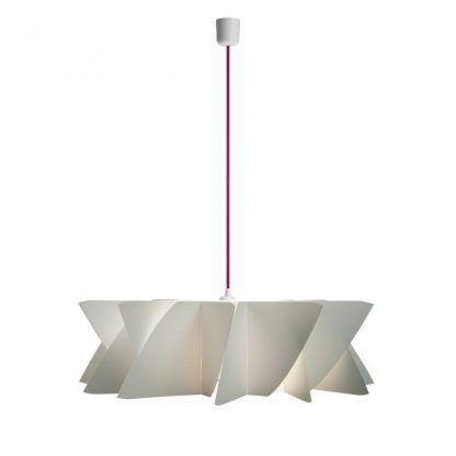 biała lampa wisząca płaska z fioletowym zawieszeniem