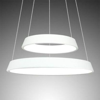 biała lampa wisząca szerokie okręgi led do salonu