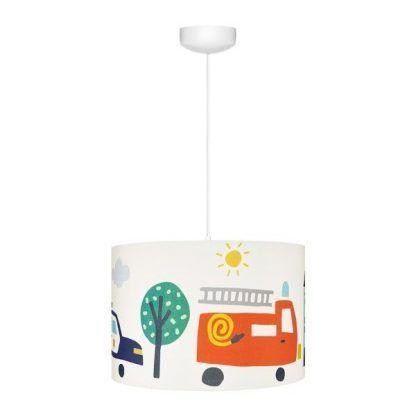 Biała lampa wisząca z abażurem w rysunki samochodów