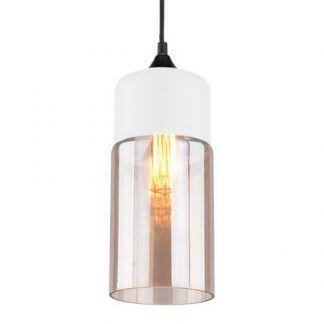 biała lampa wisząca z bursztynowym kloszem