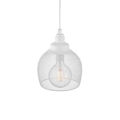 biała lampa wisząca z drucianej siatki