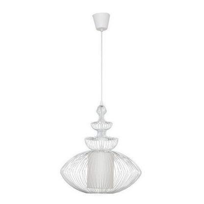 biała lampa wisząca z drucianym kloszem i abażurem