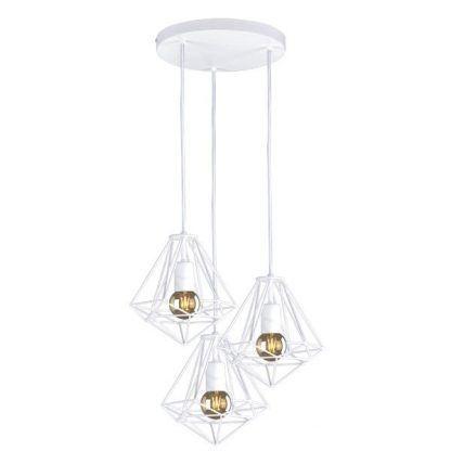 biała lampa wisząca z drucianymi kloszami diamenty