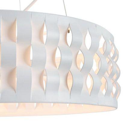 biała lampa wisząca z okrągłym kloszem falowanym