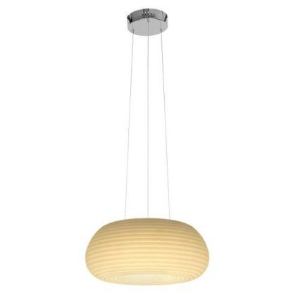 biała lampa wisząca z owalnym kloszem do salonu