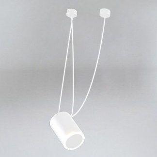 biała lampa wisząca z podłużnym kloszem tuba