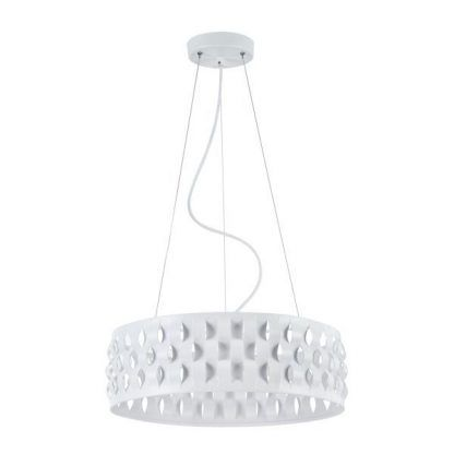 biała lampa wisząca z pofalowanym kloszem
