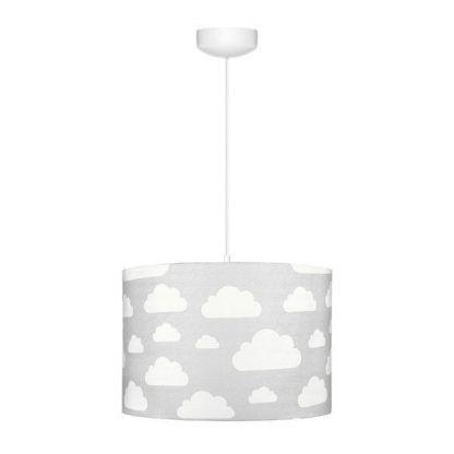 Biała lampa wisząca z szarym abażurem w chmurki
