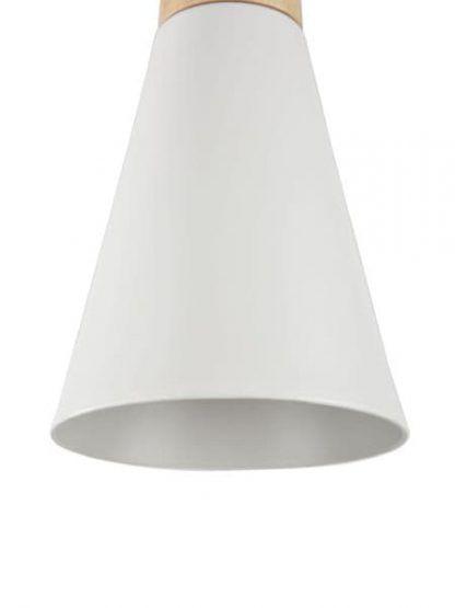biała lampa wisząca z wąskim kloszem do sypialni