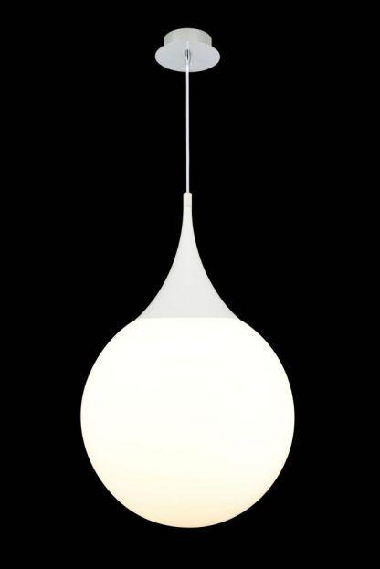 biała lampa wisząca ze szkła nowoczesna