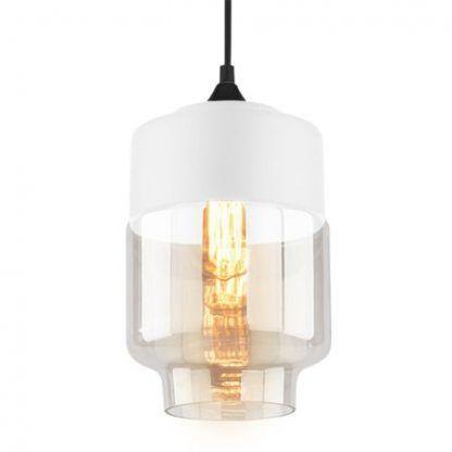 biała lampa wisząca ze szklanym kloszem nowojorska