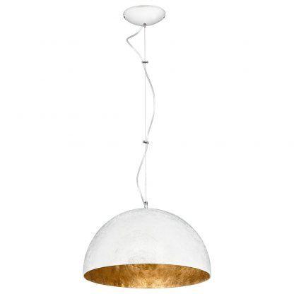 Biała lampa wisząca ze złotym wykończeniem