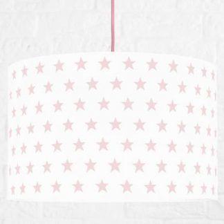 Biała lampa z abażurem w różowe gwiazdki różowy kabel