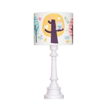 Biała lampa z abażurem z postaciami z lasu