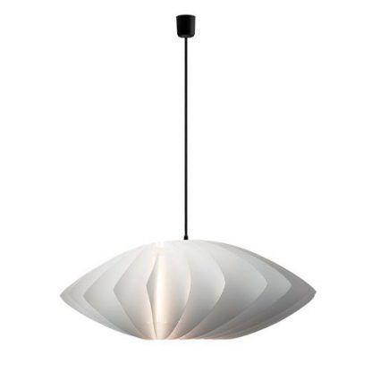 biała lampa z czarnym kablem nowoczesnym