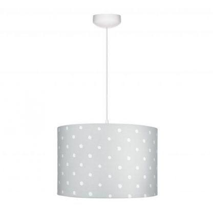 Biała lampa z szarym abażurem w białe grochy