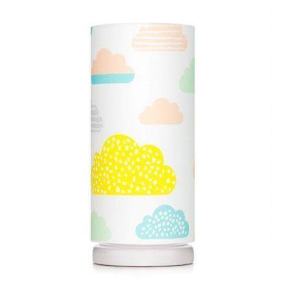 Biała lampka nocna w kolorowe chmurki
