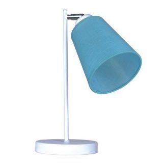 Biała lampka nocna z niebieskim abażurem