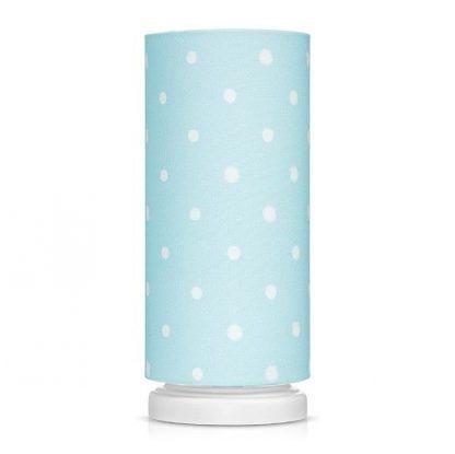 Biała lampka nocna z niebieskim abażurem w grochy