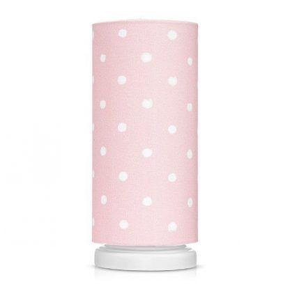 Biała lampka nocna z różowym abażurem w grochy