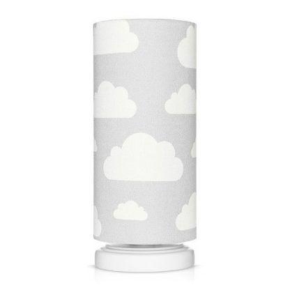 Biała lampka nocna z szarym abażurem w chmurki