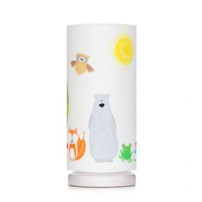 Biała lampka z abażurem w kolorowe zwierzątka