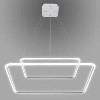 biała ledowa lampa wisząca kwadraty do salonu