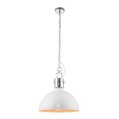 Biała metalowa lampa na srebrnym łańcuchu