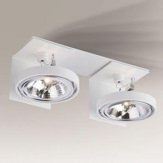 biała nowoczesna lampa sufitowa z reflektorami