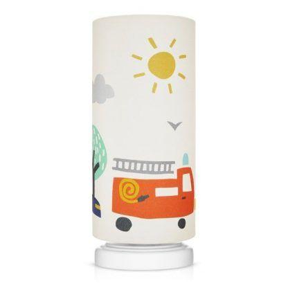 Biała podstawa lampy z abażurem w samochody