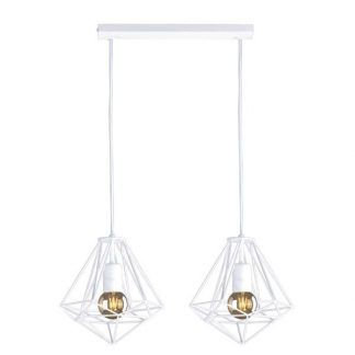 biała podwójna lampa wisząca - druciak z żarówką edisona